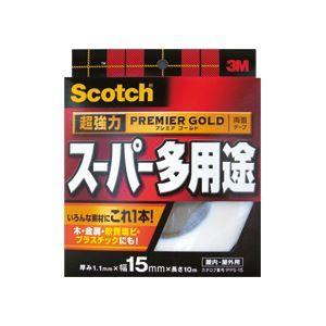 その他 (まとめ)スコッチ 超強力両面テープ プレミアゴールド (スーパー多用途)15mm×10m 10巻 ds-974084