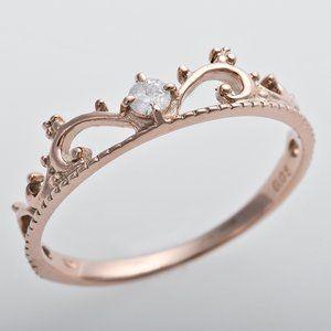 その他 ダイヤモンド リング K10ピンクゴールド ダイヤ0.05ct 8号 アンティーク調 プリンセス ティアラモチーフ  ds-1241534