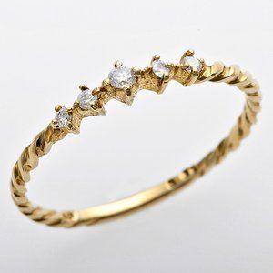 その他 K10イエローゴールド 天然ダイヤリング 指輪 ダイヤ0.06ct 8号 アンティーク調 プリンセス ds-1244576