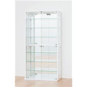 その他 コレクションケース/収納ケース 【ホワイト】 ガラス製/背面鏡張り 幅60cm×奥行29cm 【組立】 ds-1256018