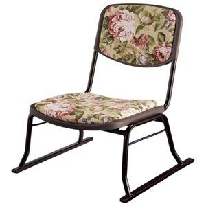 その他 スタッキングチェア/楽座椅子4点セット スチール製 花柄 〔法事/集会/会食/来客時〕 ds-1332305