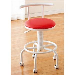 その他 座り心地のよいキッチンチェア フットレスト/キャスター付き 高さ調節可 レッド(赤) ds-1332529