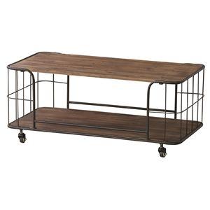 その他 センターテーブル 木製(杉)/スチール 棚収納付き IW-994 ds-1386532