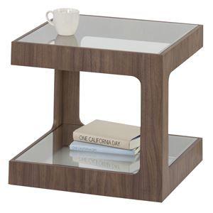 その他 サイドテーブル(ラウル) 正方形 木製(ウォールナット)/強化ガラス JST-447 ds-1387309