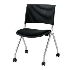 その他 ジョインテックス 会議椅子(スタッキングチェア/ミーティングチェア) 肘なし キャスター付き FJC-K5 ブラック 【完成品】 ds-1324102