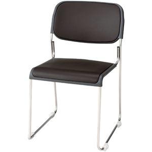 その他 ジョインテックス 会議椅子(スタッキングチェア/ミーティングチェア) 肘なし 座面:合成皮革(合皮) FRK-S2LN BR ブラウン 【完成品】 ds-1324203