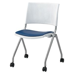 その他 ジョインテックス 会議椅子(スタッキングチェア/ミーティングチェア) 肘なし 座面:合成皮革(合皮) キャスター付き FJC-K6L NV 【完成品】 ds-1324572