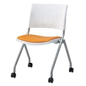 その他 ジョインテックス 会議椅子(スタッキングチェア/ミーティングチェア) 肘なし 座面:合成皮革(合皮) キャスター付き FJC-K6L OR 【完成品】 ds-1324573