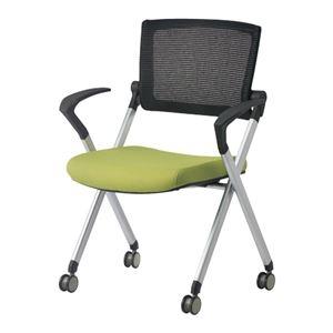 その他 ジョインテックス 会議椅子(スタッキングチェア/ミーティングチェア) 肘付き/キャスター付き GK-A90SM グリーン 【完成品】 ds-1325541