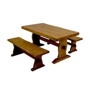 その他 浮造りダイニングテーブル(テーブル単品) 【幅135cm】 木製(松/パイン) 木目調 アジャスター付き【代引不可】 ds-1224609