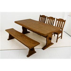 その他 浮造りダイニングテーブル(テーブル単品) 【幅180cm】 木製(松/パイン) 木目調 アジャスター付き【代引不可】 ds-1224611