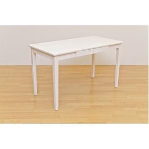 その他 木製テーブル 【長方形 120cm×60cm】 引出し2杯付き ホワイトウォッシュ 木目調 〔リビング/ダイニング/作業台〕【代引不可】 ds-1258293