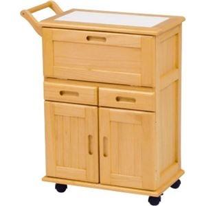 その他 キッチンワゴン/キッチン収納 【ナチュラル】 幅59cm キャスター付き 木製 タイル張り天板 ds-1314092