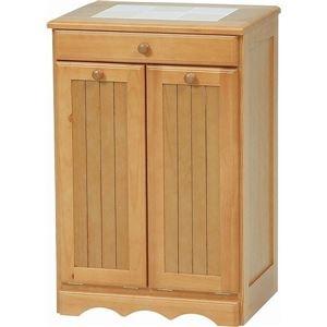 その他 ダストボックス 木製おしゃれゴミ箱 2分別 15Lペール2個/キャスター付き ナチュラル 【完成品】 ds-1314106