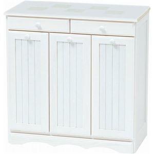 その他 ダストボックス 木製おしゃれゴミ箱 3分別 15Lペール3個/キャスター付き 白(ホワイト) 【完成品】 ds-1314109