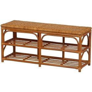 その他 ベンチチェア 木製(籐) 座面手編み 幅90cm×奥行30cm×高さ40cm ds-1314187