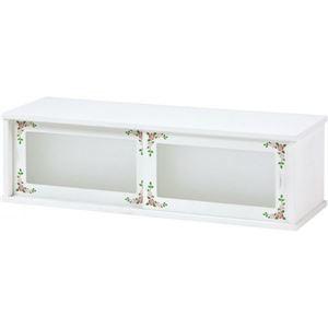 その他 カウンター上収納棚 木製 ガラス製スライドドア 幅75cm×奥行25cm ホワイト(白) ds-1314376