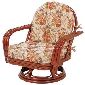 その他 回転座椅子/パーソナルチェア 【ゆったりサイズ】 座面高26cm 木製(ラタン製) 肘付き【代引不可】 ds-1314729