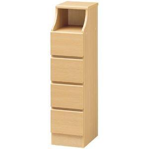 その他 木製シンプルチェスト/収納タンス 【4段 幅28cm×高さ110cm】 ナチュラル 収納棚付き 組み立て簡単 『CHESCA チェスカ』 ds-1408330