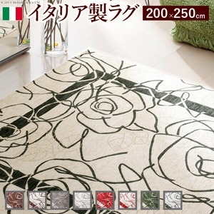 その他 イタリア製ゴブラン織ラグ Camelia〔カメリア〕200×250cm ラグ ラグカーペット 長方形 4 :アイボリーグリーン ds-1204908