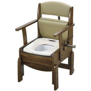 その他 リッチェル 木製ポータブルトイレ 木製トイレきらく コンパクト (1)普通便座 18510 ds-1550735
