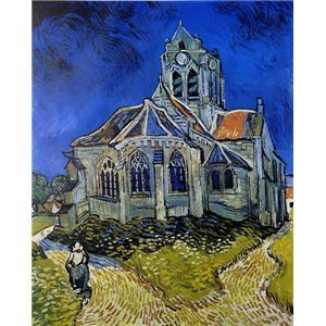 その他 世界の名画シリーズ、プリハード複製画 ヴィンセント・ヴァン・ゴッホ作 「オ-ヴェ-ルの教会」【代引不可】 ds-193548