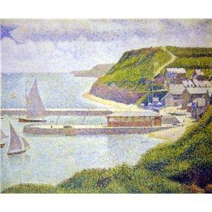 その他 世界の名画シリーズ、プリハード複製画 ジョルジュ・スーラ作 「ポール・アン・ベサンの港」【代引不可】 ds-195176