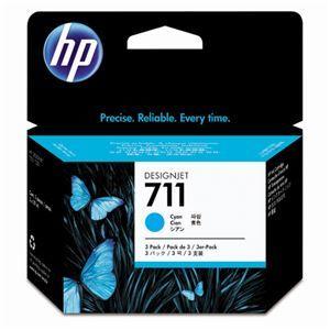 その他 (まとめ) HP711 インクカートリッジ シアン 29ml/個 染料系 CZ134A 1箱(3個) 【×3セット】 ds-1578414