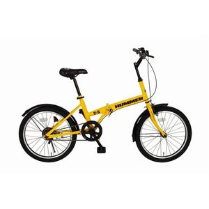 その他 ハマー製 折りたたみ自転車 【シングルギア イエロー】 20インチ スチール 『HUMMER』 〔通勤 通学〕【代引不可】 ds-1604431