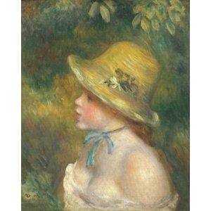 その他 世界の名画シリーズ、プリハード複製画 ピエール・オーギュスト・ルノアール作 「麦わら帽子を被った若い娘」【代引不可】 ds-1614320