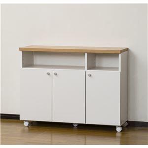 その他 スマートワゴン(キッチン収納/リビングチェスト) 幅90cm 日本製 ホワイト 【完成品】 ds-1614712