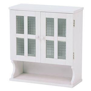 その他 調味料ラック(キッチン収納/スパイスラック) 幅45cm ホワイト(白) 木製 扉付き 収納棚高さ調節可 カントリー調 ds-1629291