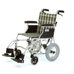 その他 介助式折りたたみ車椅子 ミニポン/チェックグリーン(緑) アルミ製 軽量コンパクトタイプ 【MIWA】 ミワ HTB-12 ds-1634654