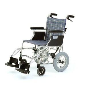 その他 介助式折りたたみ車椅子 ミニポン/チェックブルー(青) アルミ製 軽量コンパクトタイプ 【MIWA】 ミワ HTB-12 ds-1634655