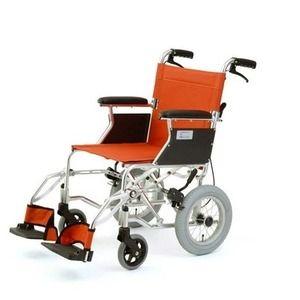 その他 介助式折りたたみ車椅子 ミニポン/オレンジ アルミ製 軽量コンパクトタイプ 【MIWA】 ミワ HTB-12 ds-1634656
