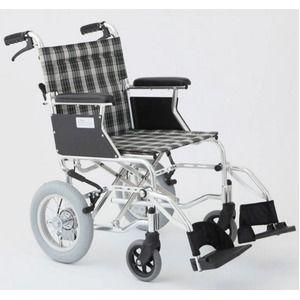 その他 介助式車椅子 チェックグリーン(緑) アルミ製 バンドブレーキ仕様/軽量コンパクトタイプ 【MIWA】 ミワ HTB-12D【代引不可】 ds-1634660