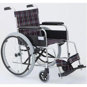その他 自走式折りたたみ車椅子 リーズ/チェックネイビー(紺) 背面ポケット付き 【MIWA】 ミワ MW-22ST ds-1634668