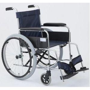 その他 自走式折りたたみ車椅子 リーズ/レザーネイビーブルー(紺) 背面ポケット付き 【MIWA】 ミワ MW-22ST ds-1634669