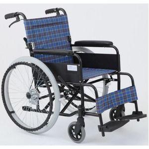 その他 自走/介助折りたたみ車椅子 アミー22/ターコイズブルー(青) アルミ製 ノーパンク仕様/持ち手付き 【MIWA】 ミワ MW-22AIIN ds-1634672