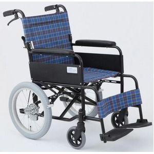 その他 介助式折りたたみ車椅子 アミー16/ターコイズブルー(青) アルミ製 持ち手付き 【MIWA】 ミワ MW-16A ds-1634674