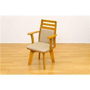 その他 ダイニングチェア(回転椅子/リビングチェア) 1脚 木製 張地:合成皮革/合皮 肘付き BENSON ライトブラウン ds-1537914