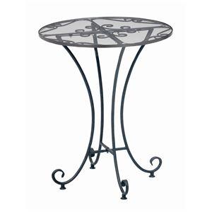 その他 強化ガラスラウンドテーブル 直径60cm スチールフレーム アジャスター付き 『Del Sol』 アンティーク調 ds-1647805