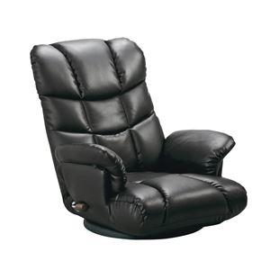 その他 スーパーソフトレザー座椅子 【神楽】 13段リクライニング/ハイバック/360度回転 肘掛け 日本製 ブラック(黒) 【完成品】 ds-1647900