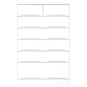 その他 ハイチェスト 6段 【幅80cm】 スライドレール付き引き出し 日本製 ホワイト(白) 【完成品 開梱設置】 ds-1645391