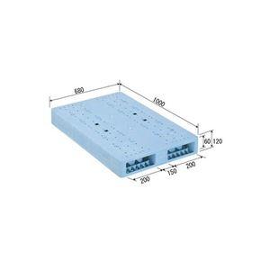 その他 (業務用2個セット)三甲(サンコー) プラスチックパレット/プラパレ 【両面使用型】 段積み可 R2-068100F ライトブルー(青) 【代引不可】 ds-1719389