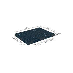 その他 (業務用2個セット)三甲(サンコー) プラスチックパレット/プラパレ 【両面使用型】 段積み可 R4-1114-6 ブラック(黒) 【代引不可】 ds-1719572