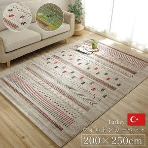 その他 トルコ製 ウィルトン織り カーペット 絨毯 『マリア RUG』 グリーン 約200×250cm ds-1725485