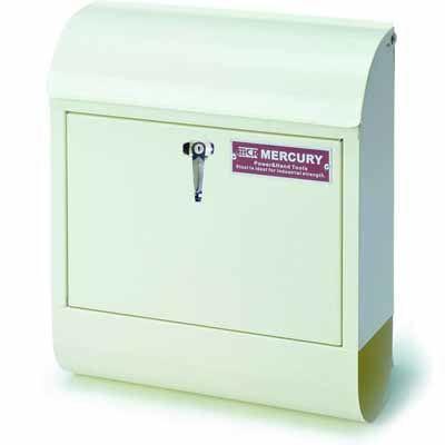 MERCURY ポスト 縦型 メールボックス ハンドル式鍵付き アイボリー スチール製 アメリカ雑貨 EE-02012