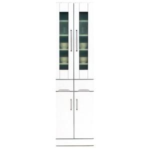その他 ダイニングボード 【上置き付き】 幅50cm 飛散防止ガラス扉/耐震ラッチ/可動棚付き 日本製 ホワイト(白) 【完成品】【代引不可】 ds-1752642