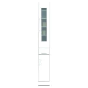その他 スリムボード食器棚/キッチン収納 幅25cm 飛散防止加工ガラス使用 移動棚付き 日本製 ホワイト(白) 【完成品】 ds-1752685
